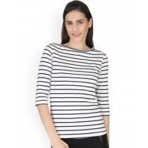 Yepme White Striped Tshirt